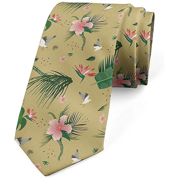 Corbata de hombre, flores de pájaros de verano, 8 cm, verde ...