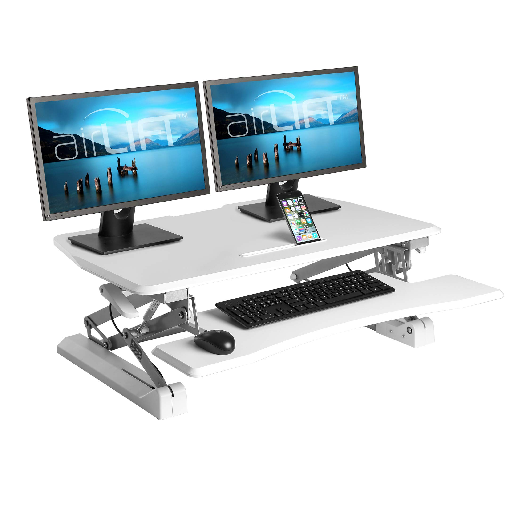 Seville Classics OFF65808 Airlift 36'' Gas-Spring Height Adjustable Standing Desk Converter Workstation Ergonomic Dual Monitor Riser with Keyboard Tray and Phone/Tablet Holder, Full, White