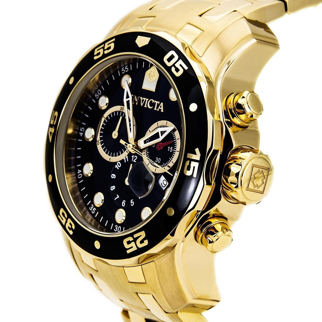 Invicta Men s 0072 Pro Diver Collection Chronograph 18k Gold-Plated Watch, Gold Black