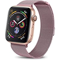 Haotop Replacement Bands Compatible for Apple Watch,Metal Mesh Magnetic Lock Stainless Steel Strap Bracelet Series 4/3/2/1 (38MM/40MM, Rose Pink)
