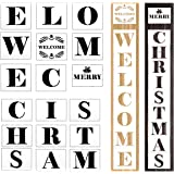 Biubee 18 Pcs Welcome Christmas Sign Porch Stencils- Reusable and Sturdy Merry Christmas Stencil, Making a DIY Welcome…