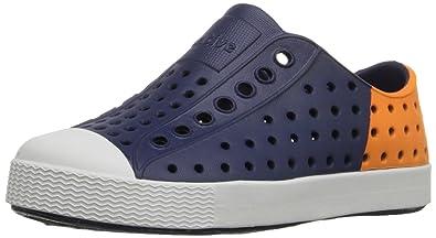 04663e5215745 Native Jefferson Block Child Slip On Sneaker (Toddler/Little Kid), Regatta  Blue/Shell White/Begonia Orange Block, 4 M US Toddler