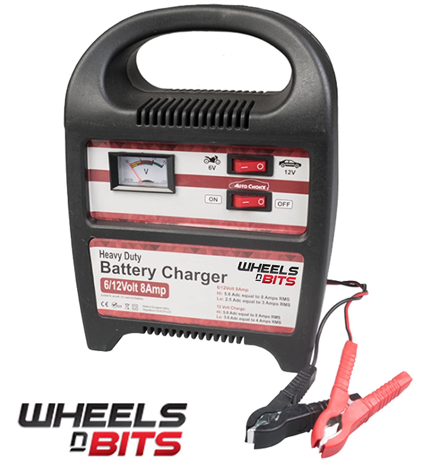 New WheelsNBits® 8AMP 6 or 12 V Volt Heavy Duty Vehicle Battery Charger Car Van Motor Bike Quads Lawn movers etc Compact Portable Electric with 3 pin UK Plug UP to 110 amp battery Suitable For Lead acid Batteries With Trickle or Fast Charge Function