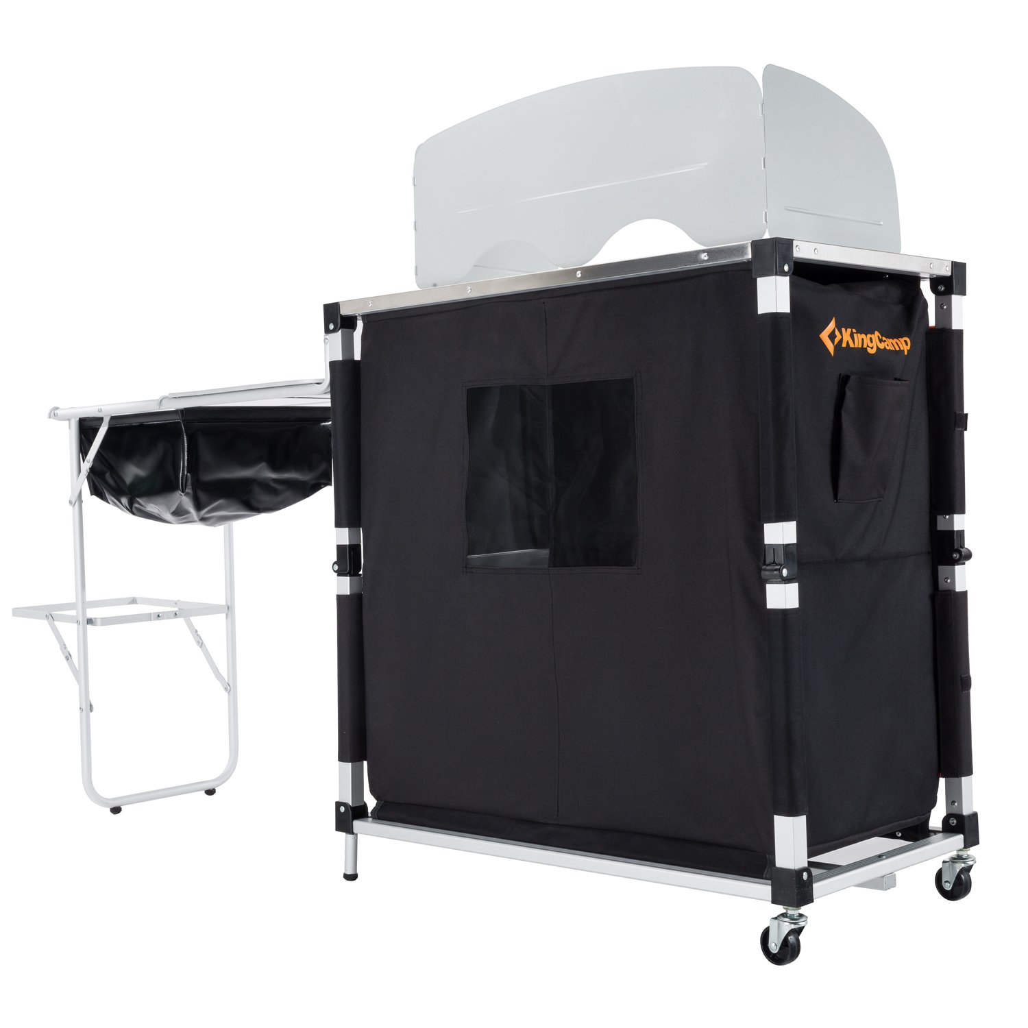 KingCamp Portable Light Multifunctional Camping Kitchen Cooking Table with Wheels Locker Sink by KingCamp (Image #2)