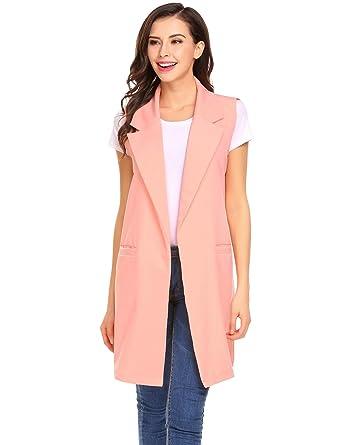 Long sleeveless blazer vest