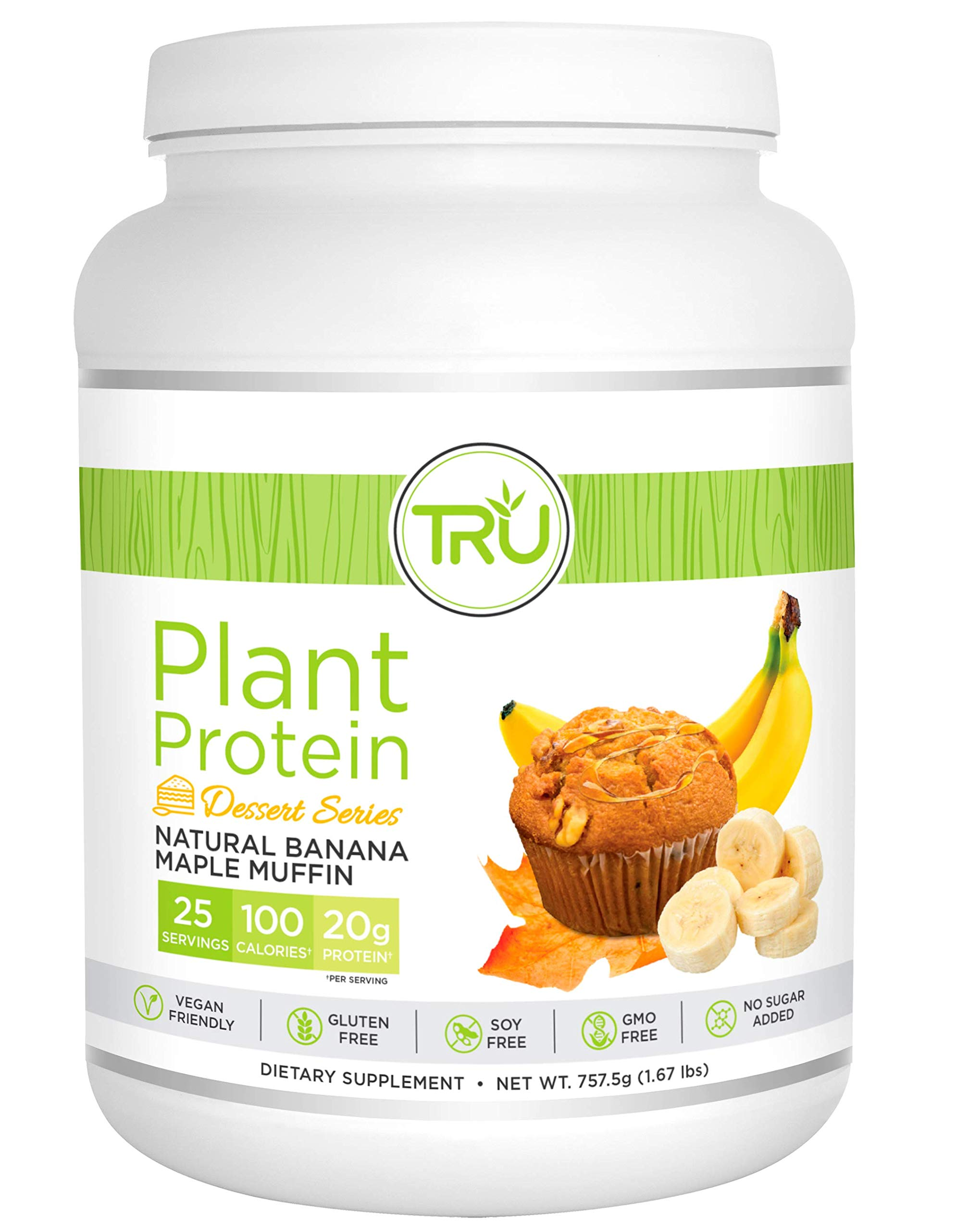 TRU Plant Based Protein Powder, Natural Flavor, Vegan Friendly, No Artificial Sweeteners, No Dairy, No Soy, 25 Servings (Banana Maple Muffin)