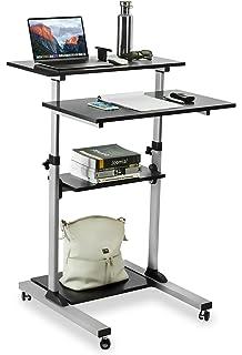 Mount It! Mobile Stand Up Desk / Height Adjustable Computer Work Station  Rolling Presentation