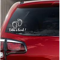 """Sticker autocollant vinyle """"bébé à bord"""" petits pieds de bébé REF 2"""