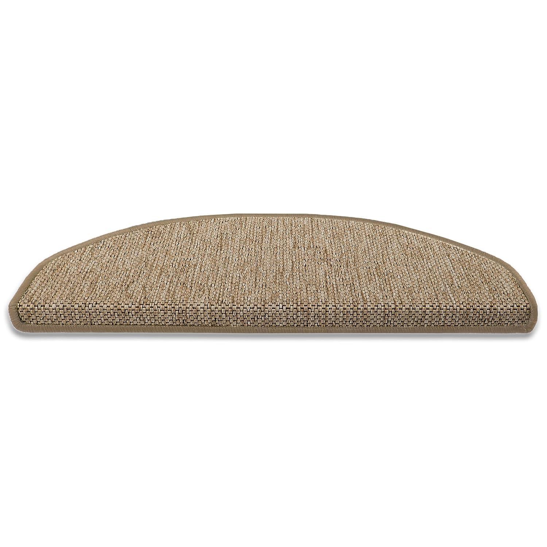 Stufenmatten Sabang   beige, Sisaloptik   Qualitätsprodukt aus Deutschland   GUT Siegel   kombinierbar mit Läufer   Form und Anzahl wählbar (halbrund, 15er Set)