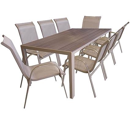 Multistore 2002 9er Gartengarnitur Aluminium Gartentisch Mit Polywood Tischplatte 205x90cm Stapelstuhl Pulverbeschichtet Mit Textilenbespannung
