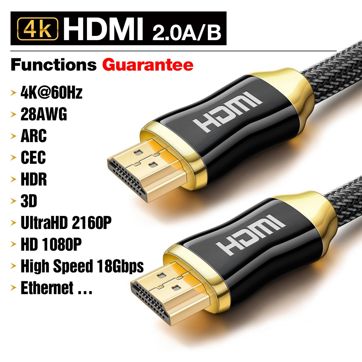 premium 4k hdmi cable 2m highspeed hdmi 2 0a amazon co uk electronics rh amazon co uk