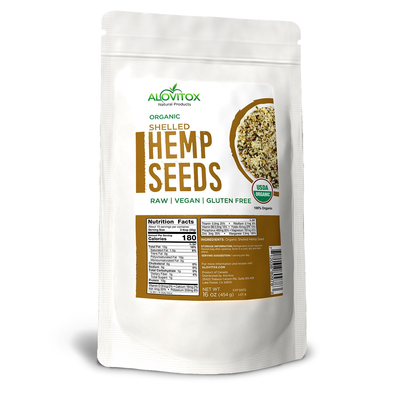 USDA Certified Organic Raw Shelled Hemp Seeds- 100% Pure Superfood, 16 oz Bag by Alovitox
