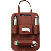 Casago PU Leather Car Seat Back Organizer and iPad Mini Holder Universal Use as Car Backseat for Storage Bottle, Tissue Box (Tan)