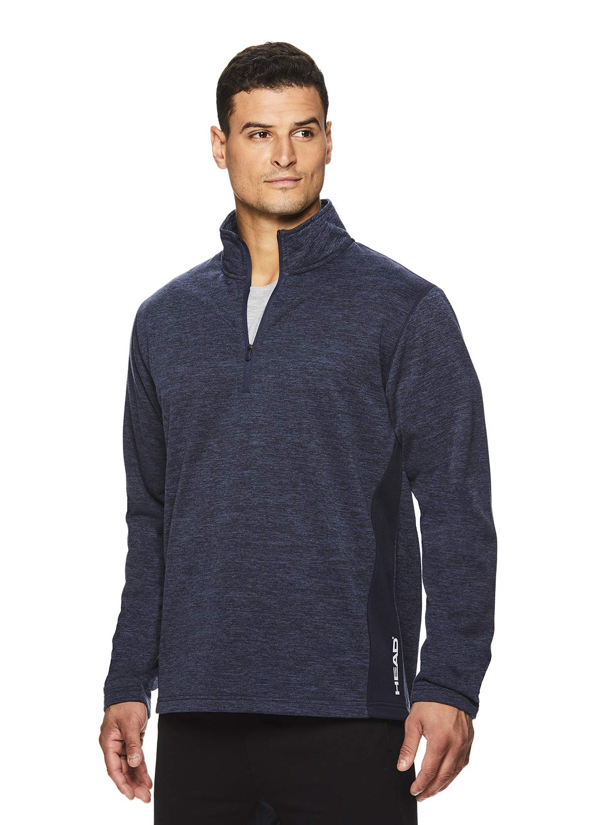 HEAD Men's 1/4 Zip Up Activewear Pullover Jacket - Long Sleeve Running & Workout Sweater - Warm Up Navy Heather, Small