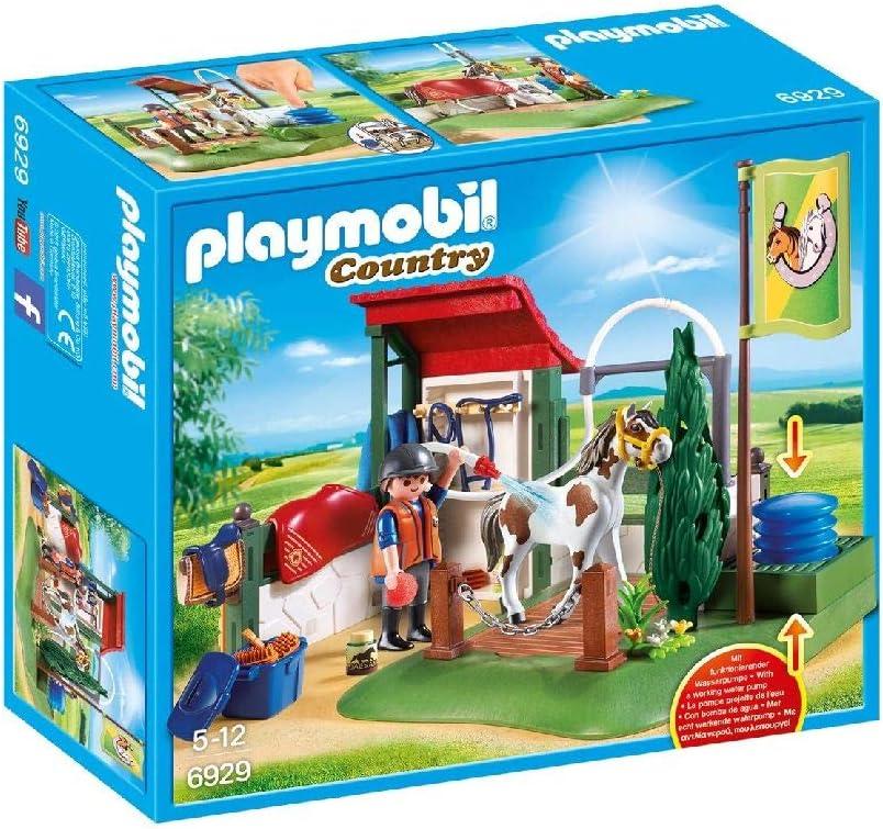 PLAYMOBIL Country Set de Limpieza para Caballos con Bomba de Agua, A partir de 5 años (6929)