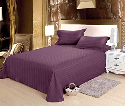 Bianca Mercerized Cotton Double Bedsheet with Pillow Covers, King Size (Plum)