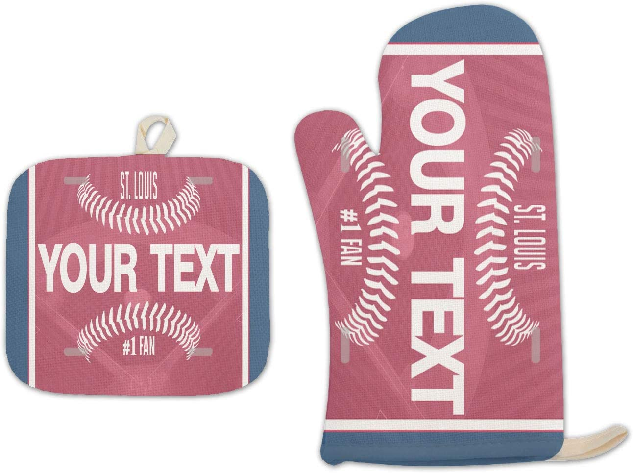 Bleu Reign BRGiftShop Personalized Custom Name Baseball Team St. Louis Linen Oven Mitt and Potholder Set