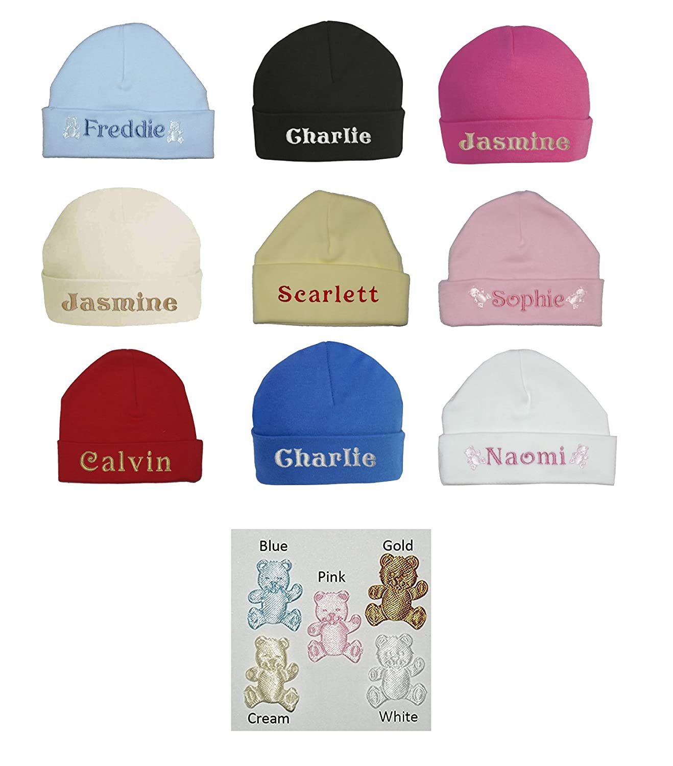 100% Super Soft Double Layered Cotton Personalised Embroidered Baby Hat - Available in sizes 0-3, 3-6 and 6-12 months and 9 colours to choose from Oh Sew Simple Single Baby Hat