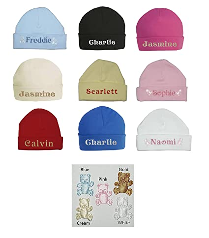 96dca414088f 100% Super Soft Double Layered Cotton Personalised Embroidered Baby Hat -  Available in sizes 0-3