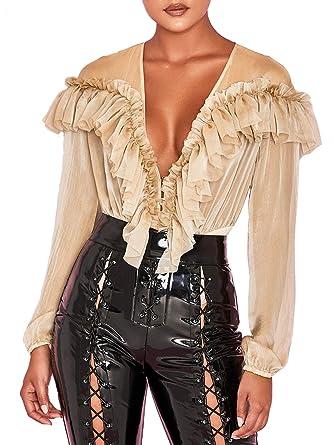 c7bf74f228dada D Jill Women's Deep V Neck Chiffon Ruffle Blouse Shirt Long Sleeve Bodysuit  Tops Nude