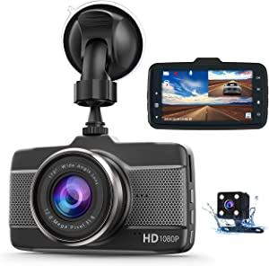 Dash Cam Car Camera Front and Rear Claoner FHD 1080P Dual Dash Cam Backup Car Camera with Night Vision, 3 Inch IPS Screen, 170° Wide Angle, Loop Recording, G-Sensor, Motion Detection, Parking Monitor