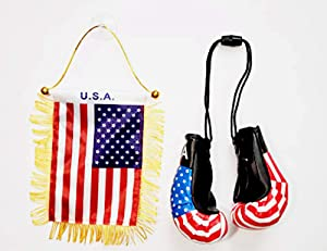 Rainbow Trading Flag and Boxing Gloves Combo Car Rear-View Mirror Office Decor… (USA)