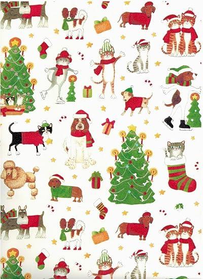 Amazon.com: Caspari – Papel de regalo navidad Perros y Gatos ...