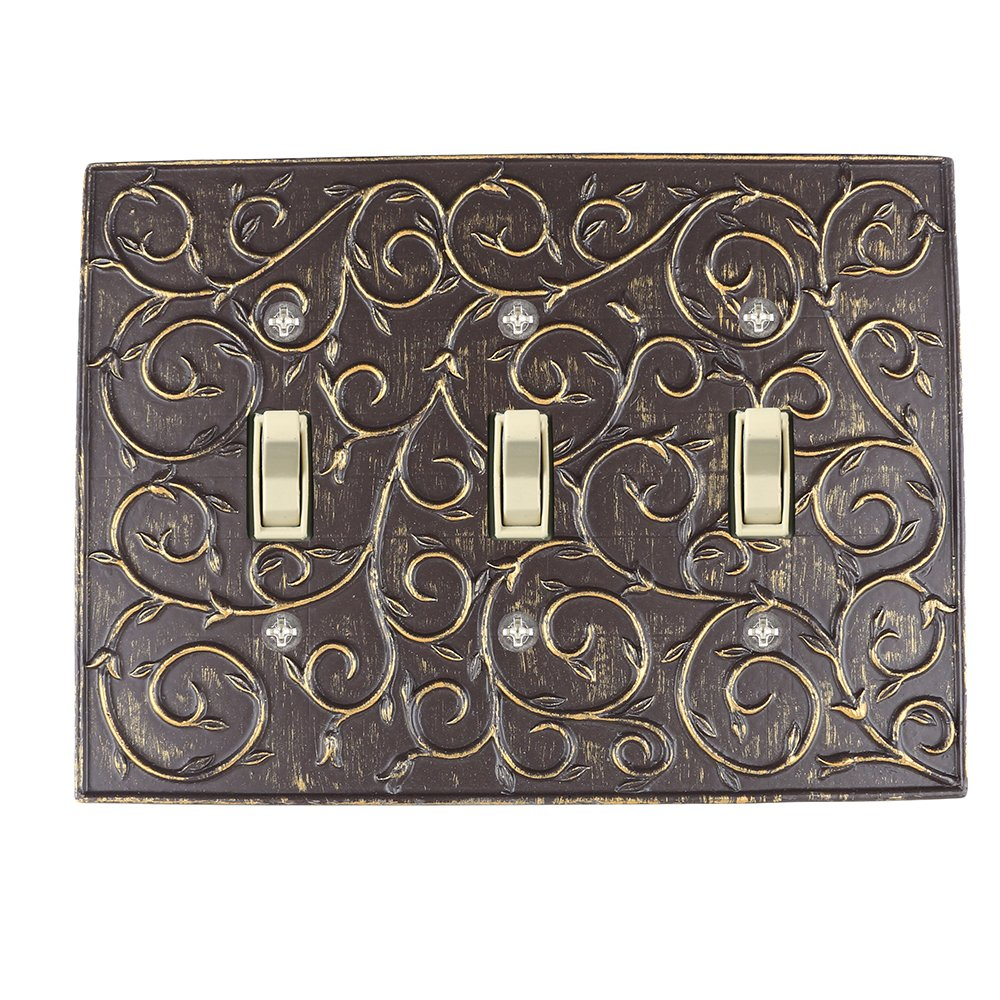 Meriville French Scroll 3 Toggle Wallplate, Triple Switch Electrical Cover Plate, Bronze