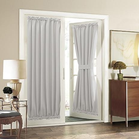 Patio Door Curtain Panel   Aquazolax Room Darkening Blackout Curtain Drapes  54 X 72 Inch With