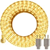 LED Rope Lights Outdoor SURNIE Warm White 50ft Waterproof Flexible, Strip Lights Kit Connectable, Cuttable, 110V 3000K Indoor