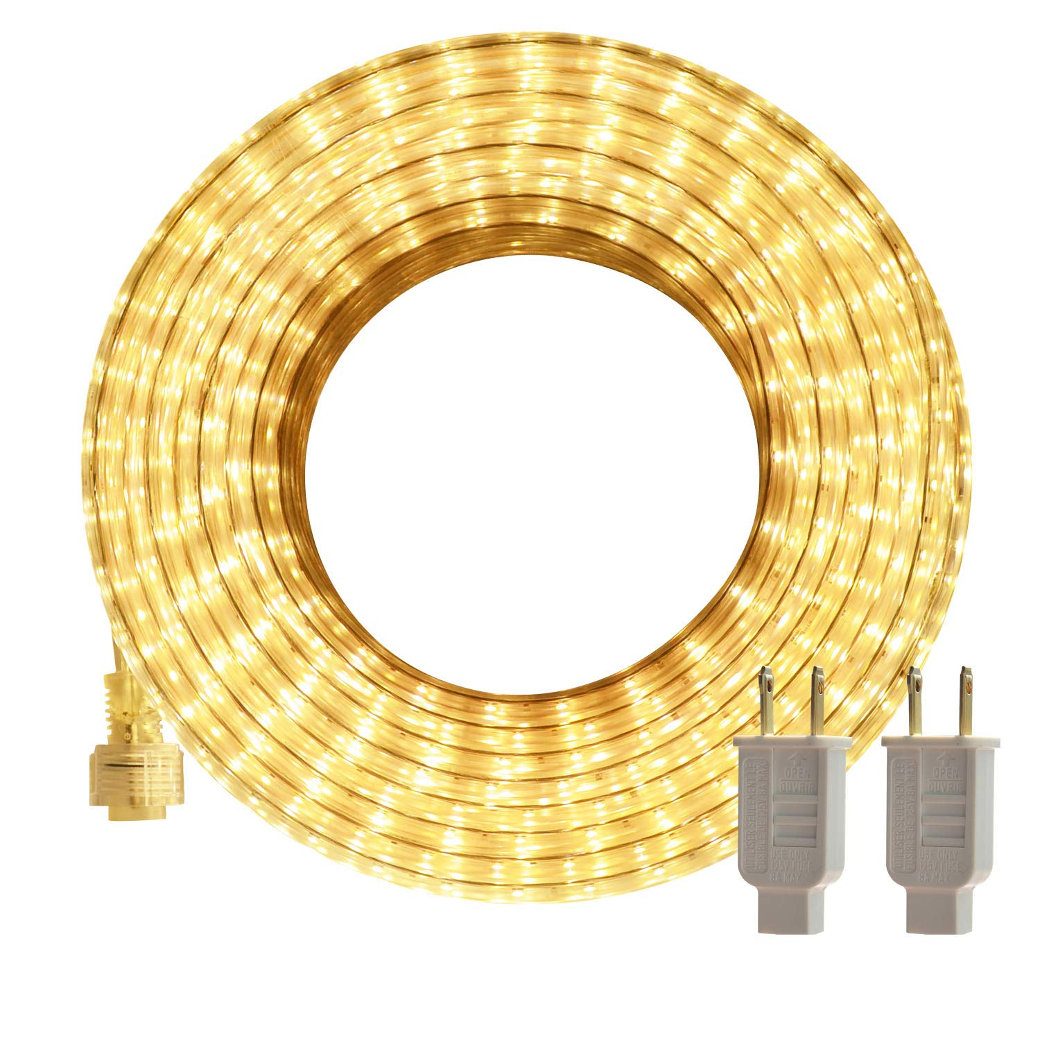 LED Rope Lights, 50ft Flat Flexible Light Strip, 3000K Warm White, Water Resistant for Both Indoor/Outdoor Use, Inter-Connectable, UL Certified, Decorative Lighting for Any Location.