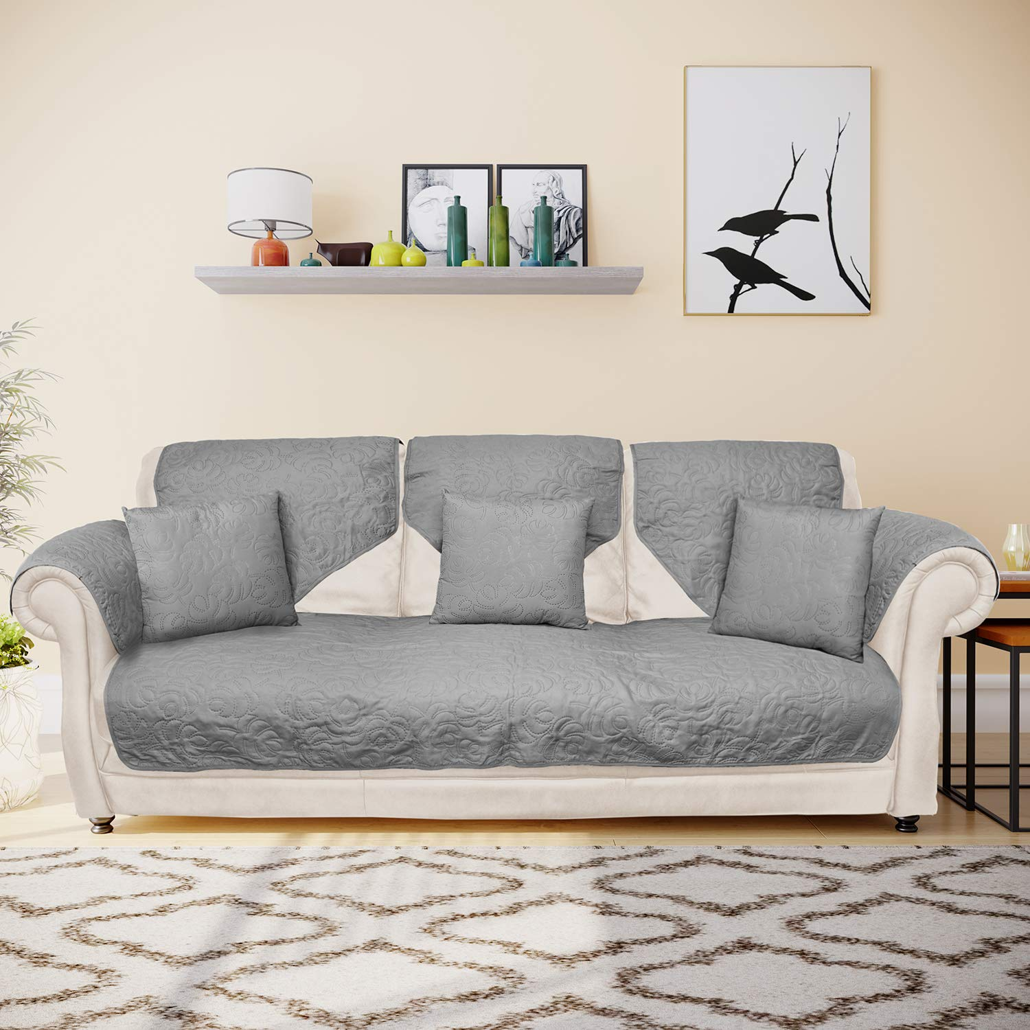 @home by Nilkamal Reversible Solid 3 Seater Sofa Cover with 3 Cushion  Covers (Grey)