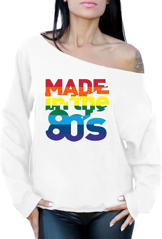 Awkward Styles Women's Made in The 80's Rainbow Off Shoulder Tops Sweatshirt Birthday Gift Idea