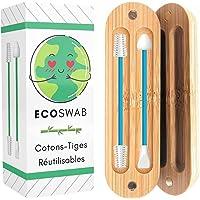 EcoSwab herbruikbare wattenstaafjes voor de oren, wasbare oordopjes van siliconen en bio-bamboe-box, 2 wattenstaafjes…