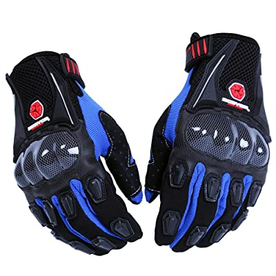 SCOYCO Men's Gloves Black,with Microfiber Hard Knuckle,Waterproof,Breathable, Powersports,Motorbike,Scooter,Motorcycle Glove.(BLUE,L): Automotive