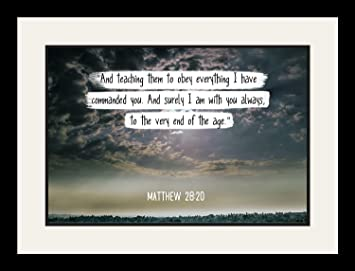 Amazoncom Bible Verse Wall Art And Surely I Am With You Always