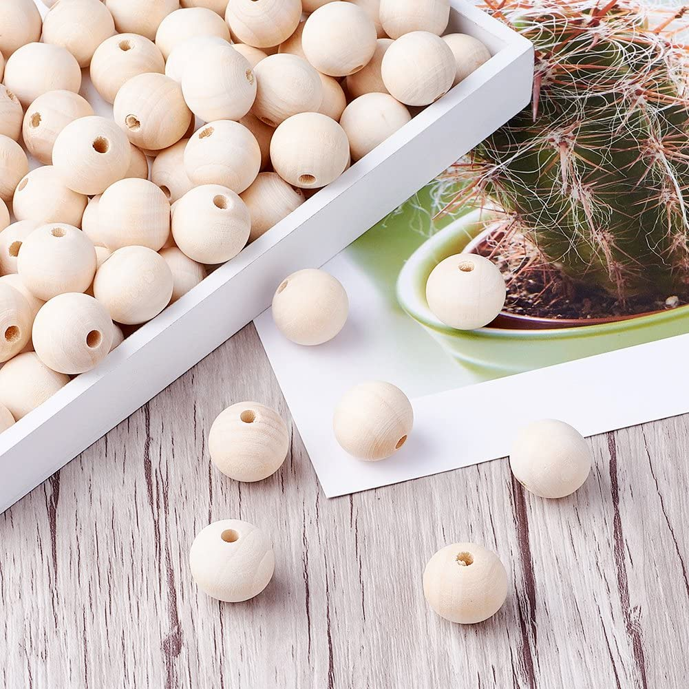 Kissitty 20Pcs 18.5~19mm Natural Round with Heart Wood Beads Original Color Wooden Ball Spacer Loose Beads for DIY Jewelry Making