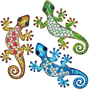 Maansfy Metal Gecko Wall Decor Mosaic Glass Art Lizard Sculpture Hanging Decorations Set of 3 for Home Garden Bedroom Patio