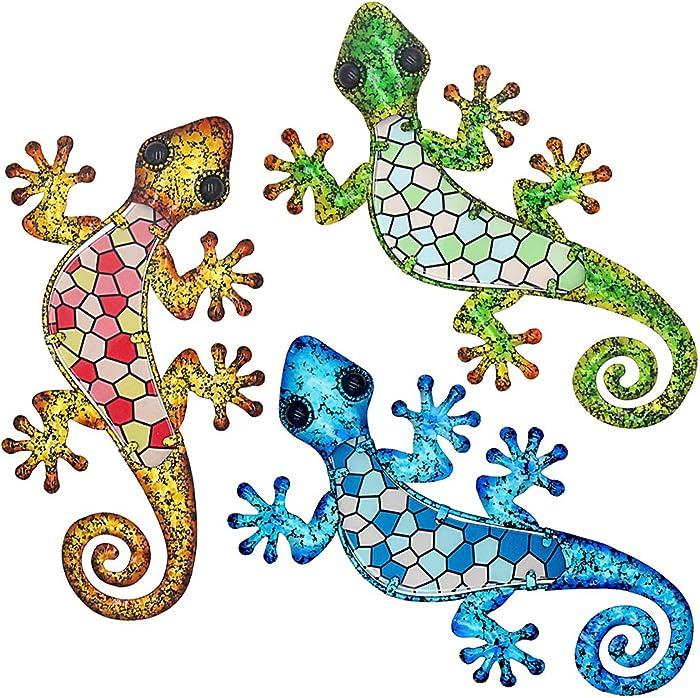 Maansfy Metal Gecko Wall Decor Mosaic Glass Art Lizard Sculpture Hanging Decorations Set of 3 for Home Garden Bedroom Patio