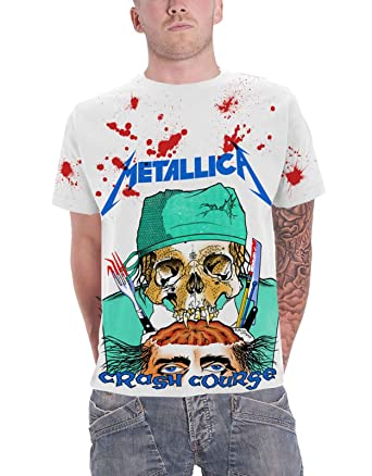 6d52dc6cd357d Metallica T Shirt Crash Course in Brain Surgery Official Mens White All  Over Size S