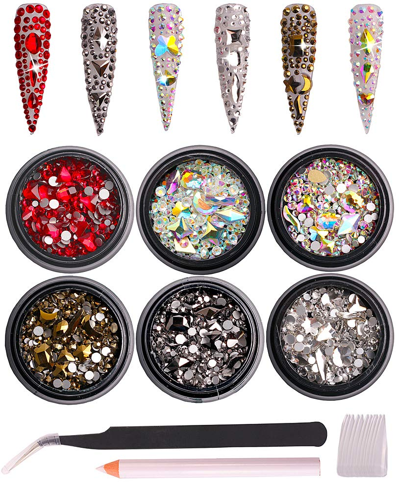 6 Pack Mixed Nail Art Rhinestone Nail Art Decorations Accessories Flat Base Nail Jewelry Glass Rhinestone Crystal Best for Manicure DIY Mobile Phone Shell Jewelry Makeup 3D Decoration: Beauty