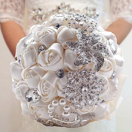Bouquet Di Fiori Da Sposa.Fouriding Bouquet Da Sposa Di Lusso Nozza Fiori Di Rosa Diamante