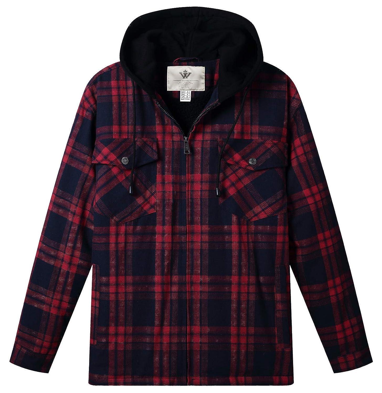 WenVen Men's Plaid Shirt Hooded Long Sleeve Fleece Lined Jacket