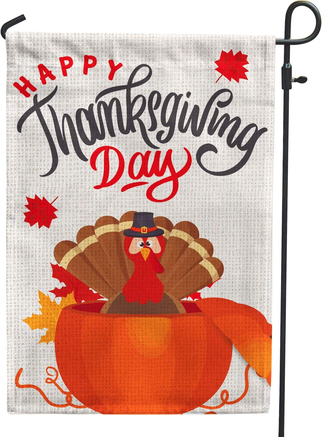 Hollyhorse Happy Thanksgiving Garden Flag |12.5 x18 Inch Burlap Double Sided Vertical Outdoor Outside & Yard Flag - Turkey Pumpkin Farmhouse Thanksgiving Day Flag