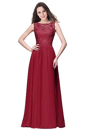 9b6d9e53f1 MisShow Elegant Burgundy Bridesmaid Dresses Formal Prom Dresses Floor  Length,Burgundy,2