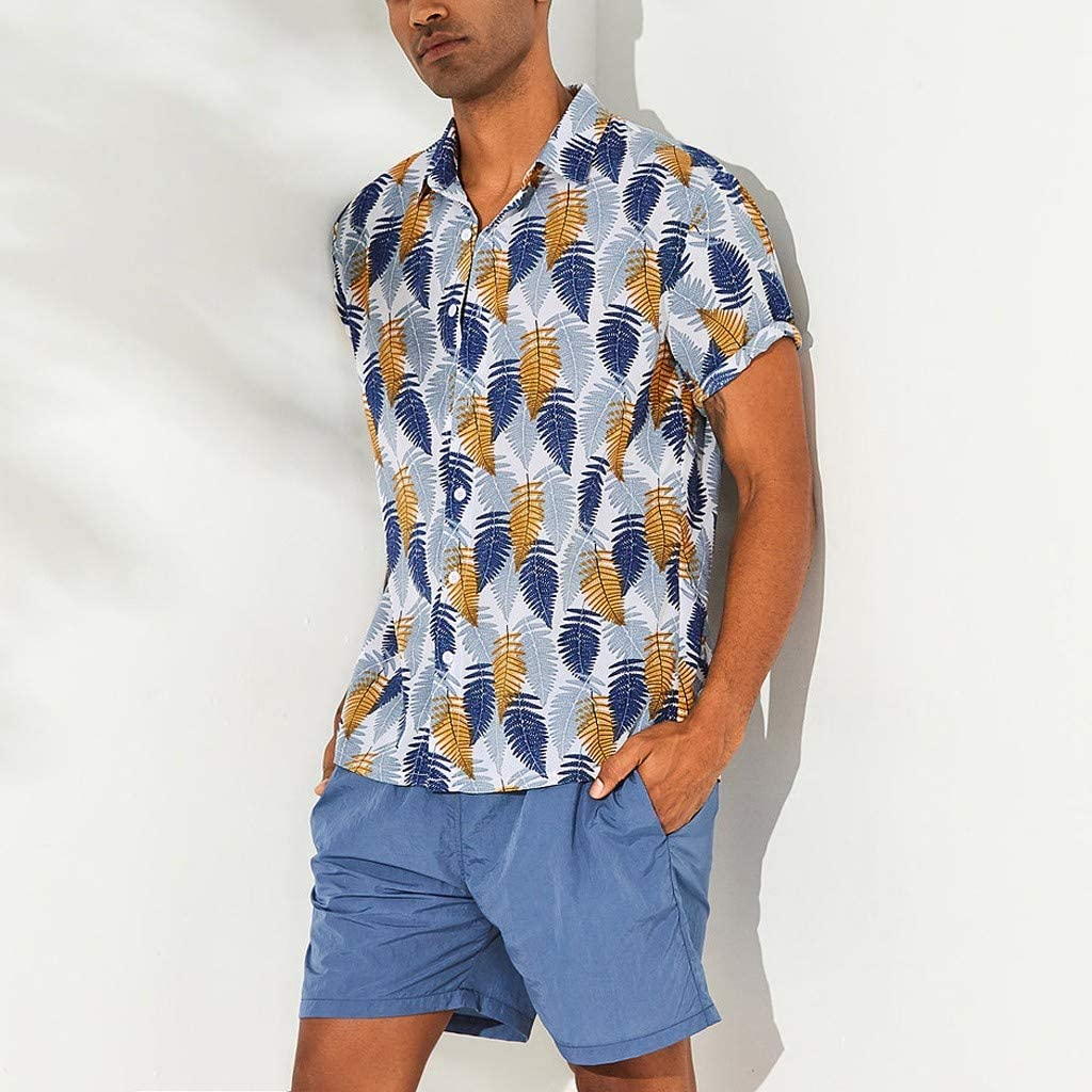 Mr.Macy Mens Hawaiian Beach Printed Turn Down Collar Short Sleeve Loose Shirts