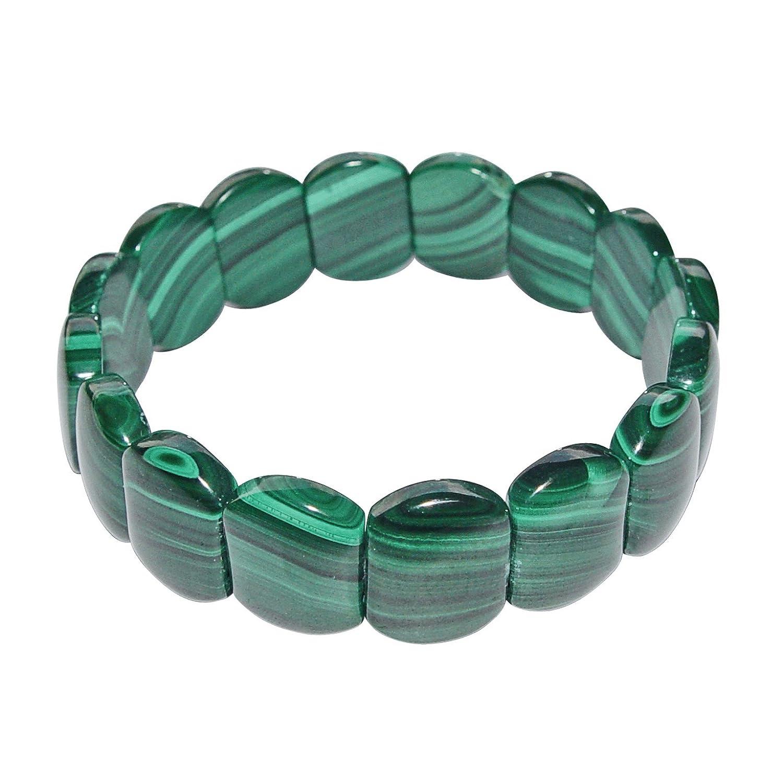 Malachit Armband flach anliegend schöner grün gemaserter Malachit A* Qualität.(3832) Janni-Shop®