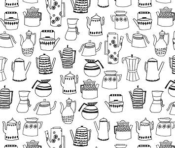 Libros tela – Macetas de café tetera café negro y blanco para colorear libro Ilustración cocina
