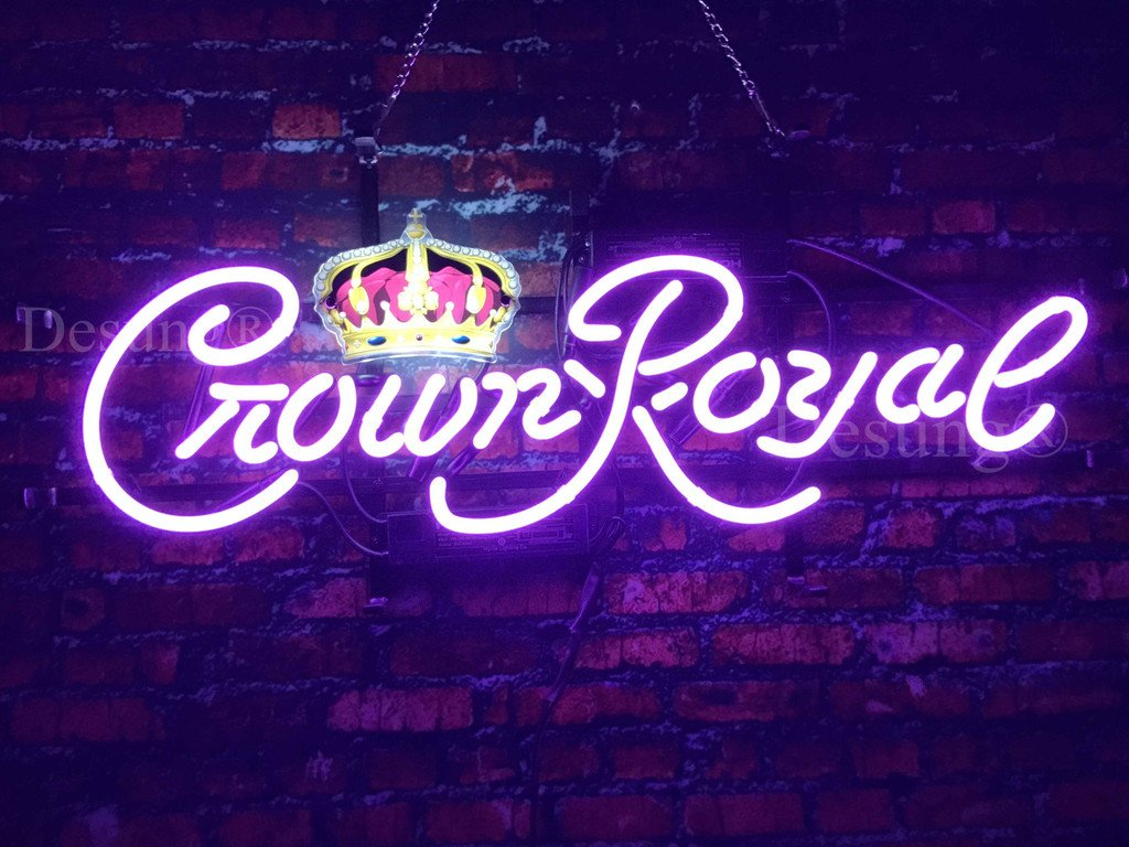 Desung 24''x10'' New Crown Neon Sign Royal with HD Vivid Printing Technology Man Cave Sports Bar Pub Beer Neon Lights Signs Lamp Glass Neon Light NT13