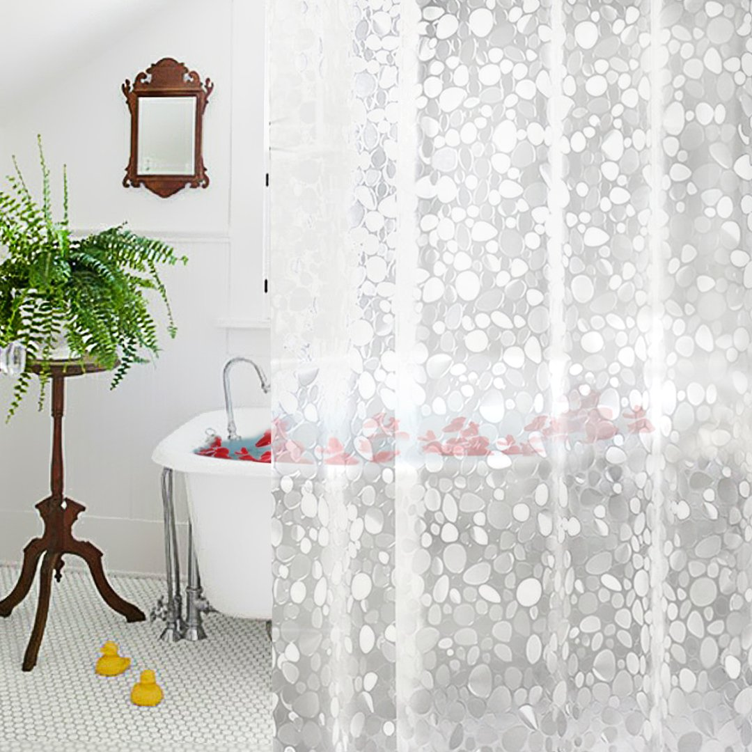 Clear Shower Curtain liner, Aoohome 18 Gauge EVA Bathroom Curtain 3D Cobblestone with Hooks, Heavy Duty, Mildew Resistant